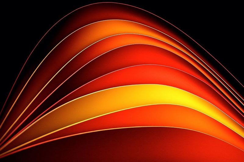 Colorful figure waves on black background