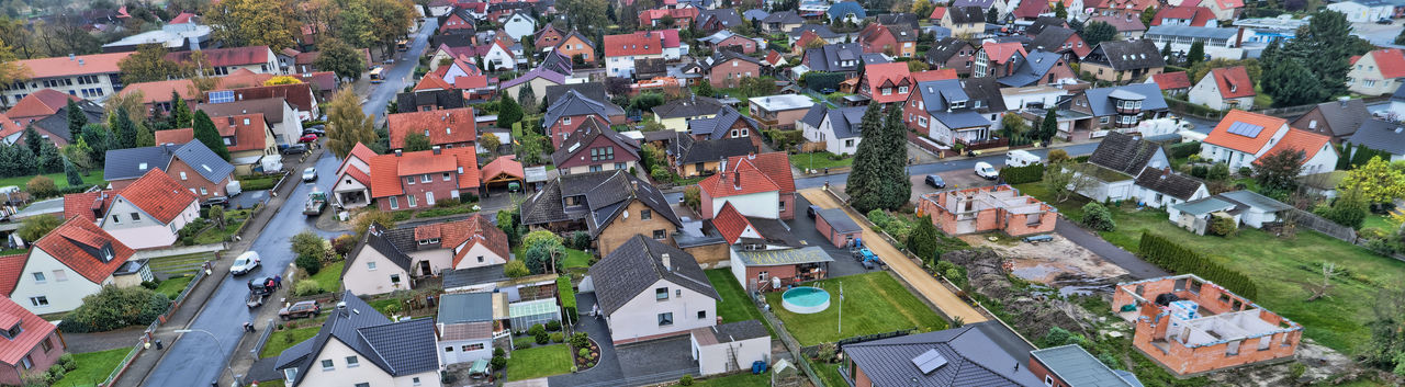 High angle view of houses in city