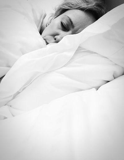 Sleep Time White Sheets Dreaming Bed Relaxing Women Woman Portrait Blackandwhite Showcase: February