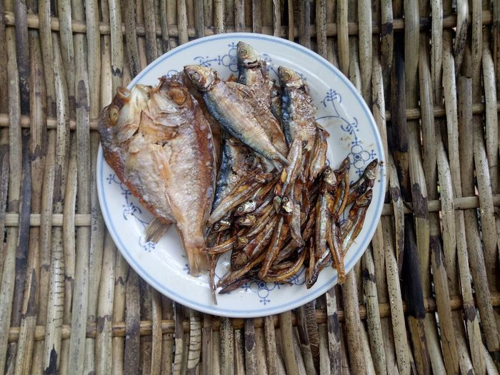 High angle view of dried fish.