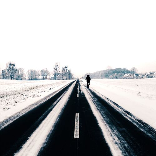 Alone Bicycle Bike Clear Sky Cold Day Composition Copy Space Day Diminishing Perspective Freezing Frozen Frozen In Time Journey Leading Long Narrow Outdoors Perspective Railroad Track Snow The Way Forward Transportation Travel Vanishing Point Winter