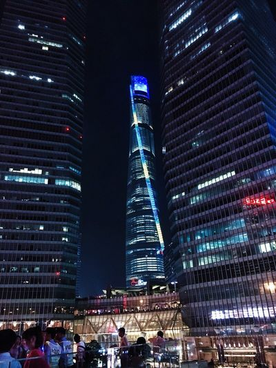 陆家嘴 Architecture Building Exterior Illuminated City Built Structure Tall - High Skyscraper Night Modern Low Angle View Tower City Life Office Building Sky Tall Urban Skyline Financial District  Building Story Outdoors Development