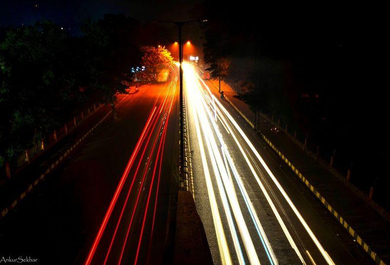 Long Exposure Traffic Lighttrails Nightphotography Winter Foggy Night City Nikon D5100