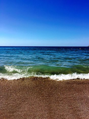Sea Beach Horizon Over Water Water Sand Blue Nature Scenics Beauty In Nature Shore Tranquil Scene Tranquility Clear Sky No People Day Idyllic Outdoors Sky Wave Nofilter Holidaymemories Holiday Theblacksea Shadesofblue Seasandsun