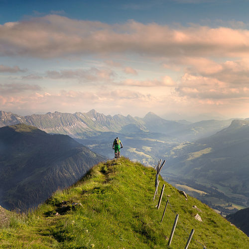 Fürstein Mountain Activity Adventure Beauty In Nature Cloud - Sky Environment Idyllic Landscape Leisure Activity Lifestyles Men Mountain Mountain Range Nature Non-urban Scene One Person Outdoors Real People Scenics - Nature Sky Tranquil Scene Tranquility