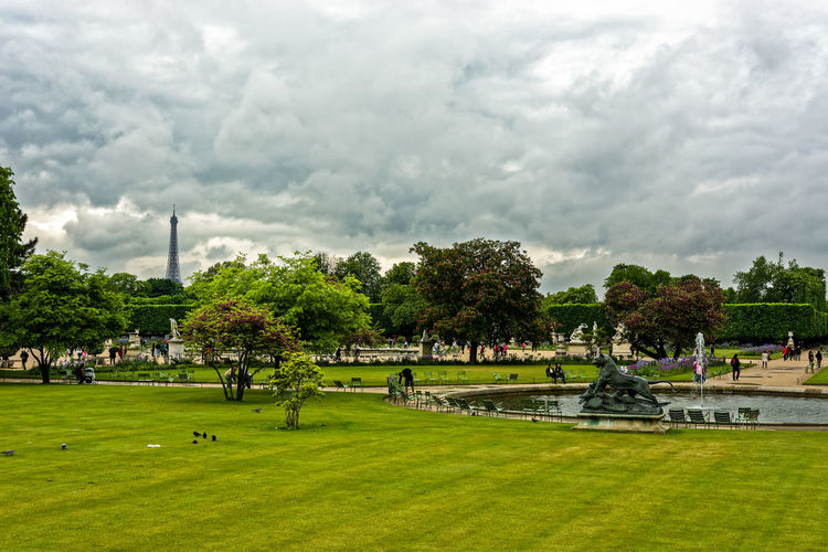 Jardin des Tuileries Clouds Clouds And Sky Cloudscape Eiffel Tower Europe Fountain France Garden Grass Green Jardin Des Tuileries Lawn Paris Park People Sky And Clouds Statue Travel Trees Tuileries Garden Urban Landscapes
