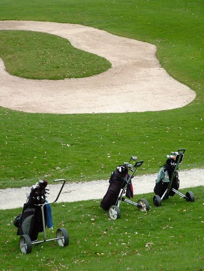 High angle view of golf bag on course