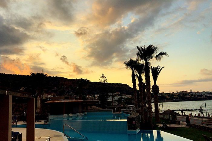 Sunset Sunset Crete Greece Water Sky Cloud - Sky Tree Nature Plant Sunset Architecture Swimming Pool Beauty In Nature Tranquility No People Built Structure Palm Tree