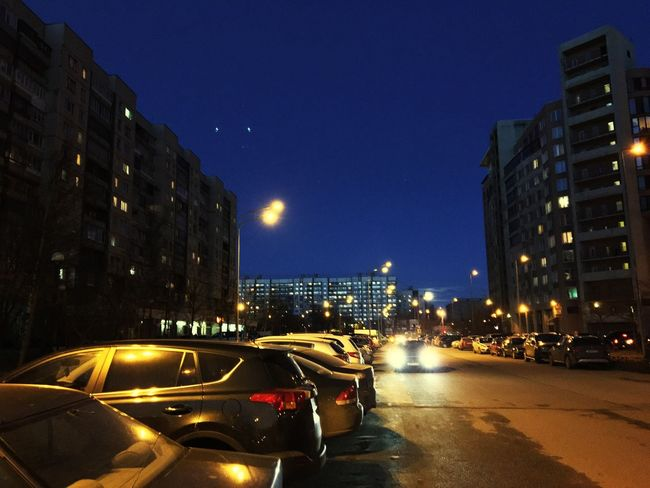Can you find the full moon? Night Car City Outdoors Road Clear Sky Fullmoon Saint Petersburg Calmnight