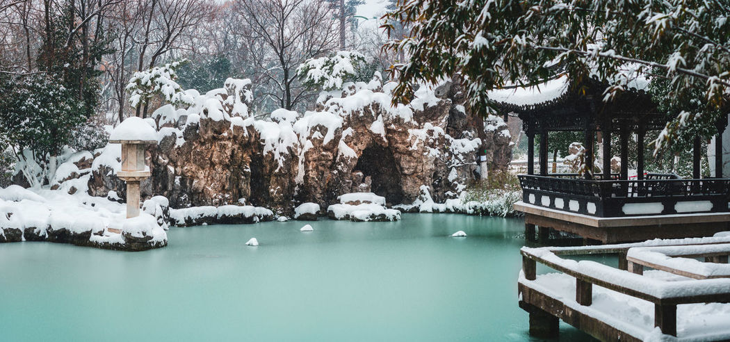 Chinese Garden Architecture Classic Frozen Hefei Pond Winter China Chinese Cold Garden Lake Park Snow