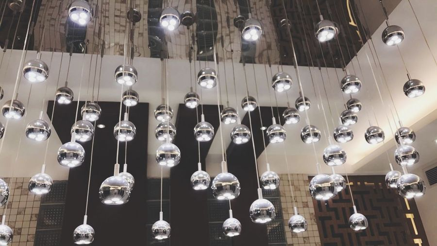 In A Row Hanging Repetition Indoors  No People Silver Colored Large Group Of Objects Low Angle View Backgrounds Technology Close-up Day Lights Light Up Your Life Light Bulb