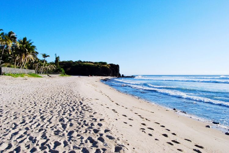 FootPrint Beach Sand Clear Sky Sea Blue Water Tourism Travel Destinations Relaxing Taking Photos