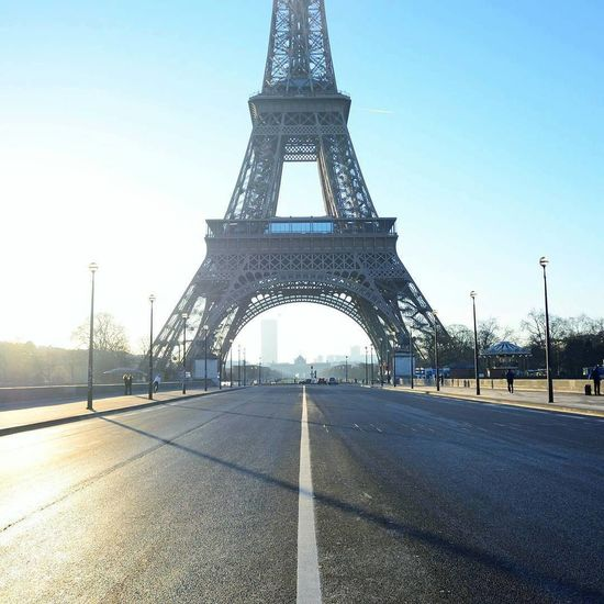 Architecture Blue Built Structure Capital Cities  Culture Day Diminishing Perspective Eiffel Tower Engineering Famous Place Long No People Outdoors Paris Road S Sky Sunset Surface Level Tall - High The Way Forward Tour Eiffel Tourism Travel Destinations Vanishing Point
