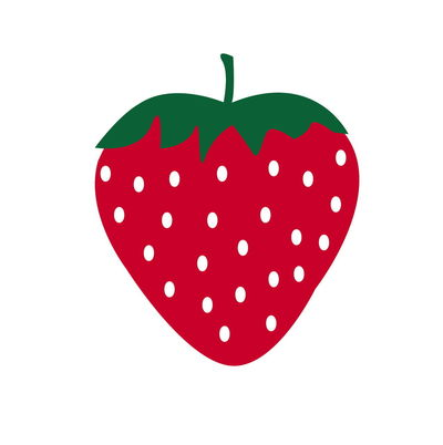 Single red strawberry isolated on a white background. Vector illustration Green Background Beautiful Cartoon Fruit Graphic Healthy Icon Isolated Shape Single Strawberry Vegetarian White Icon Red Close-up Cute Design Food Illustration Leaf Red Symbol White