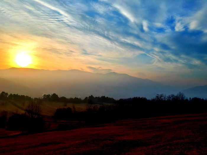 Fog Mountains In Fog Low Light Blue Sky Winter Hot Winter Sunset Nature Tree Sun Cloud - Sky Scenics Landscape Rural Scene Tranquil Scene No People Beauty In Nature Sunlight Outdoors Multi Colored Tranquility