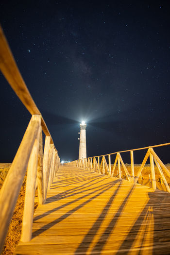 Wooden structure against sky at night