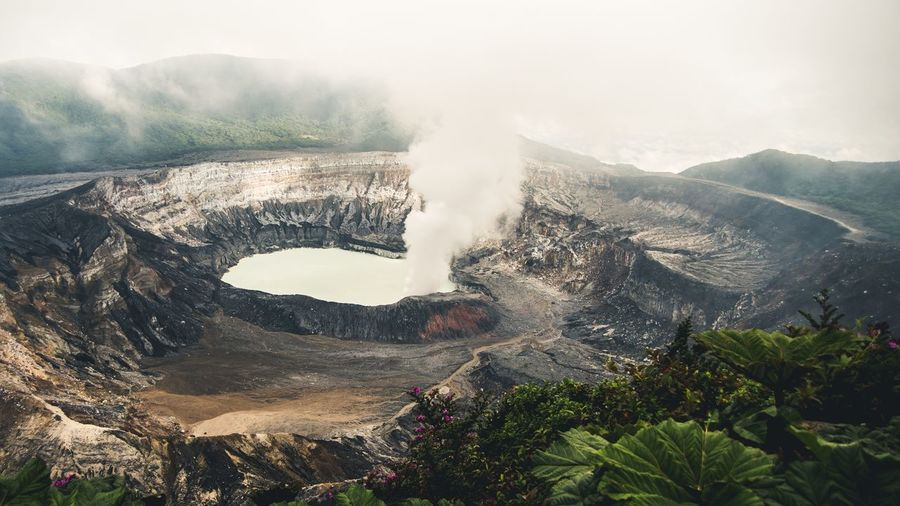 High angle view of volcanic landscape against sky