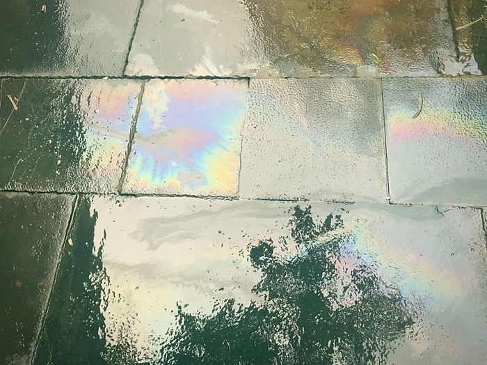 Rainbow in everywhere Beauty In Everything Rainy Days In My Days Oil Spill Water Wet Day Rainbow Multi Colored No People