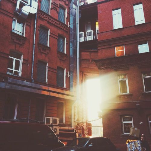 Russia Moscow Moscow, Москва Digital October Sunset Red Brick Wall Sun Rays Warmth Looking To The Other Side