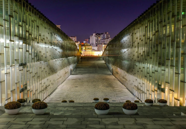 Seoul South Korea - October 30 2017. Night shot of modern building underground library of Ewha Womans University Nighshot Library Women University Modern Architecture Ewha Womans University Underground Architecture Building Exterior Built Structure Illuminated Night No People Outdoors Sky