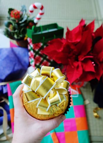 Sharing Christmas Decoration Holiday Holiday Moments Human Hand Hand Holding Focus On Foreground Gift Ribbon Celebration Ribbon - Sewing Item Christmas Decoration Wrapping Paper