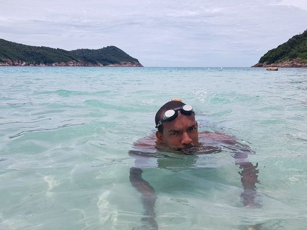 One Person Water One Man Only Swimming Leisure Activity Headshot Underwater UnderSea Tropical Beach Cristalline Water Man In The Ocean Swimming In The Sea Black Male Black Male Swimming Holidays Summer Tropical Island Tropical Climate in Redang Island in Malaysia
