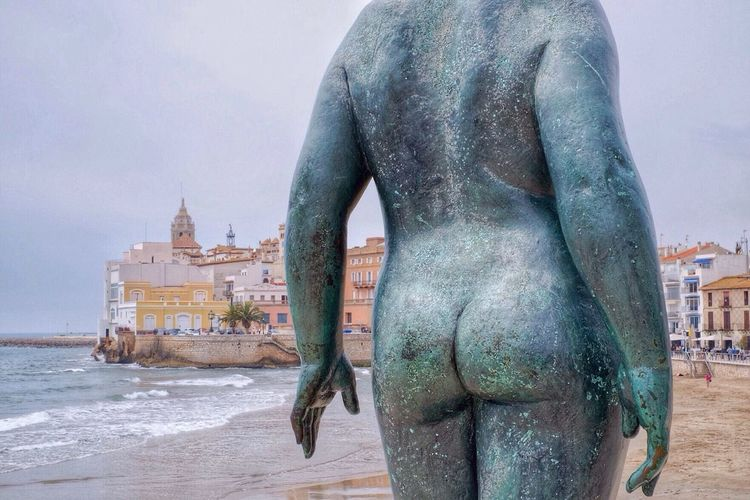 Seaside Seascape Old Town Old Buildings Statue Bum Statue Detail Beach Mediterranean