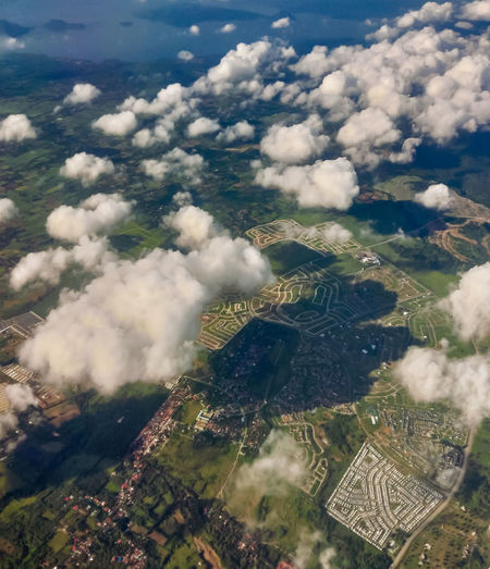 High angle view of aerial view of land against sky