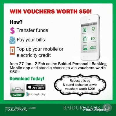 """By @baiduribank """"Salary is out soon and you have plenty of bills to pay! Do them all from the Personal iBanking Mobile App before 2nd February 2014 and stand a chance to win $50 worth of vouchers! EXTRA: Repost and share this ad to win an additional $20 voucher! Don't forget to tag us! Baiduribank Baiduriechannels Baiduripromos """" via @PhotoRepost_app"""