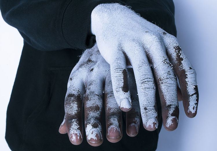 Close-up of painted hands