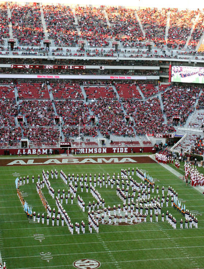 University of Auburn Bands halftime show in Bryant Denny stadium in 2012 Bryant Denny Stadium Football Formation Green Color Halftime Marching Band Outdoors Tuscaloosa University Of Auburn The Color Of Sport