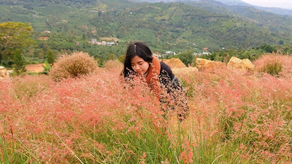 Pink Color Pink Pink Flower Pink Grass  Natural Landmark Natural Landscape Relaxing Clean Air Sky And Clouds Pink And White Girl Tree Nature Growth One Person Outdoors Field Plant Agriculture Beauty In Nature Happiness Mountain Day Landscape Flower Young Women Smiling Young Adult Beauty Women