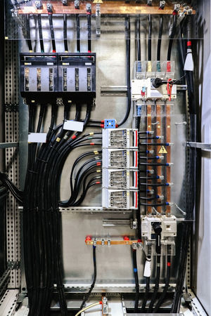 Electrical panel with fuses and contactors Electric Board Panel Switch Cable Close-up Computer Cable Connection Connections Control Panel Device Electricity  Fuses High-voltage High-voltage Power Line Indoors  Network Server No People Safety Technology Wire