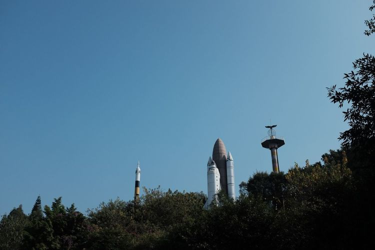 Space Shuffle Space Space Space Ship Space Shuttle Tree Copy Space Architecture No People Blue Low Angle View Clear Sky