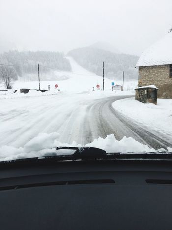 Neige, snow, route, driving in snowy road Snow Winter Transportation Car Cold Temperature Land Vehicle Weather Mountain Frozen Car Point Of View Nature Scenics Road Road Trip Outdoors