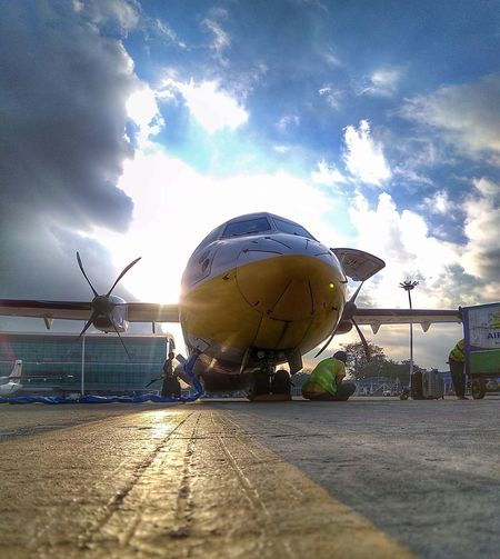 AKBZ Modern Workplace Culture ATR72 600 Mobile Photography Mobilephotography Myanmar Airplane Aircraft Air KBZ Cloud - Sky No People Sky Day Outdoors