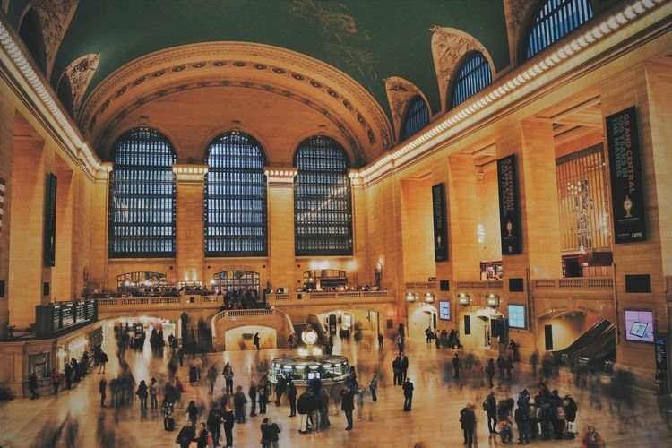 Architecture Blurred Motion Crowd Grand Central Station Historic Historical Building Indoors  Large Group Of People Long Exposure Manhattan New York City Night NYC Photography Old Times People Real People Train Station Travel Travel Destinations Travelling Vintage Warm Colors