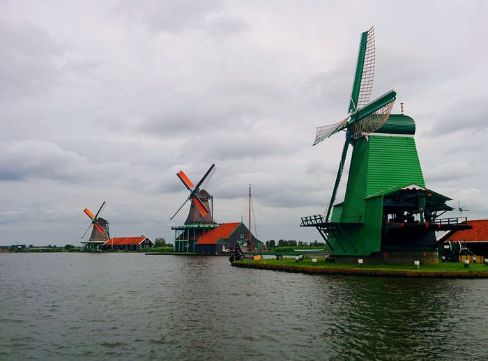 Traditional Windmill Travel Outdoors Windmill Sky Water Nature Day Lovely Colorful Serenity