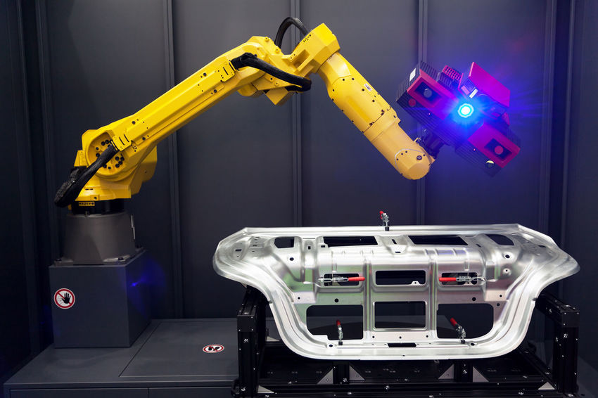 Robotic arm with 3D scanner. Automated scanning. 3D Camera Industrial Machine Measuring Metrology Automated Automation Automotive Computer Control Coordinate Data Engineering Factory Inspecting Inspection Manufacturing Measurement Optical Robot Robotic Arm Scan Scanner  Scanning