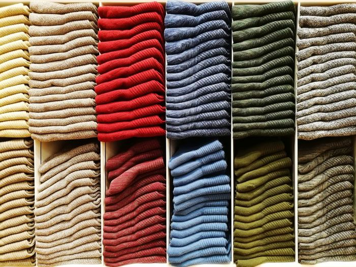 Full Frame Shot Of Multi Colored Towels In Store