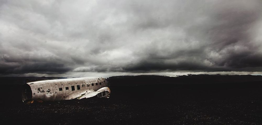 Cloud - Sky Douglas DC-3 Iceland Blacksandbeach Plane Crash Trip Photo Volcano Usnavy Canonphotography Canon5dmk2 Beauty In Nature Reflection B&w Photo