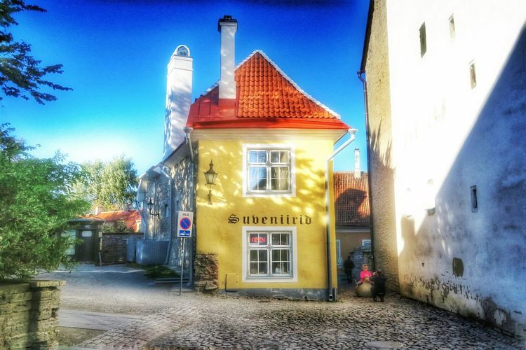 Yellow House Old Town G7x Baltic Tallinn Medieval Architecture Beautiful Day October2015 Tallinn Estonia Estonia People Watching