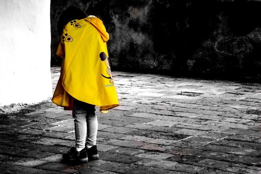 Innocence Yellow Street Blackandwhite Childhood Lightinthedark Hopeful Rainy Days