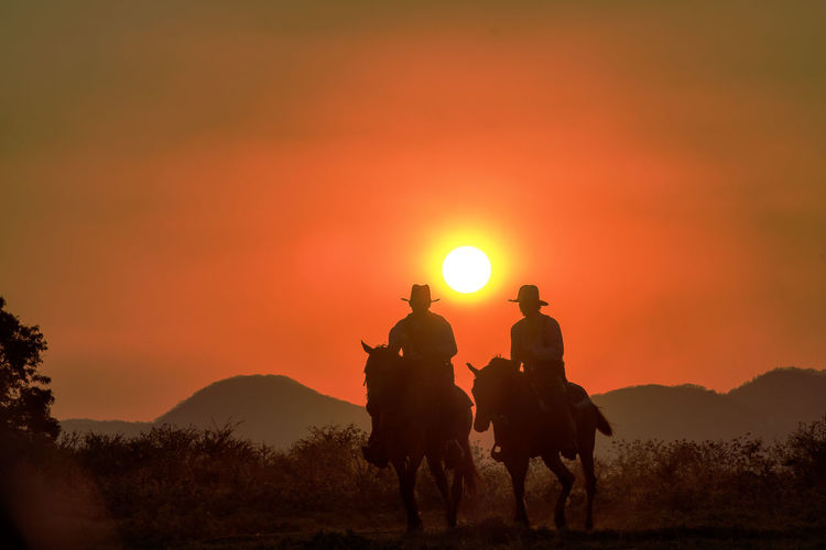 Silhouette people riding horse on field against sky during sunset