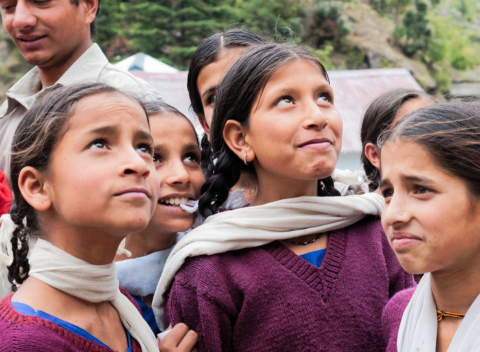 Indian children at school Beauty Cheerful Child Childhood Cute Day Family Father Females Friendship Girls Happiness Himachal Pradesh Lifestyles Outdoors People Portrait Smiling Togetherness Young Adult