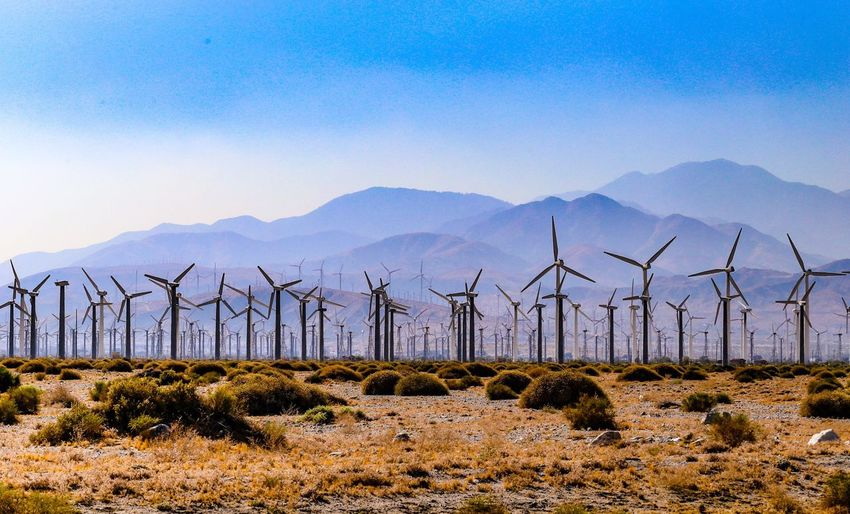 Palm Springs wind farm. Alternative Energy Environmental Conservation Fuel And Power Generation Wind Power Wind Turbine Renewable Energy Mountain Outdoors Windmill Nature No People Day Field Sky Mountain Range Landscape Desert Beauty In Nature Rural Scene Industrial Windmill JGLowe EyeEm Selects