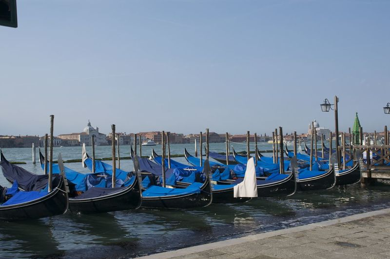 Blue Boat Boats And Water Gondola Gondola - Traditional Boat Italy Repetition Sea Venetian Venice Venice, Italy Water