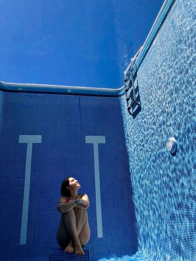 Water or illusion?) 🧜♀️ Mexico Pool Time Sitting Swimming Xenses Blue Bottom Full Length Indoors  Magic One Person Pool Poolside Rivera Maya Sport Summer Swimming Pool Water Women Young Women