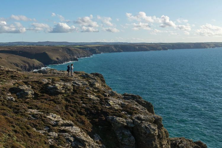 Sea Sky Water Beauty In Nature Rock Cloud - Sky Real People Rock - Object Scenics - Nature Leisure Activity Tranquil Scene Tranquility Nature Solid Lifestyles Day Land Standing One Person Outdoors Poldark Poldark Location Cliff Ocean Cornwall