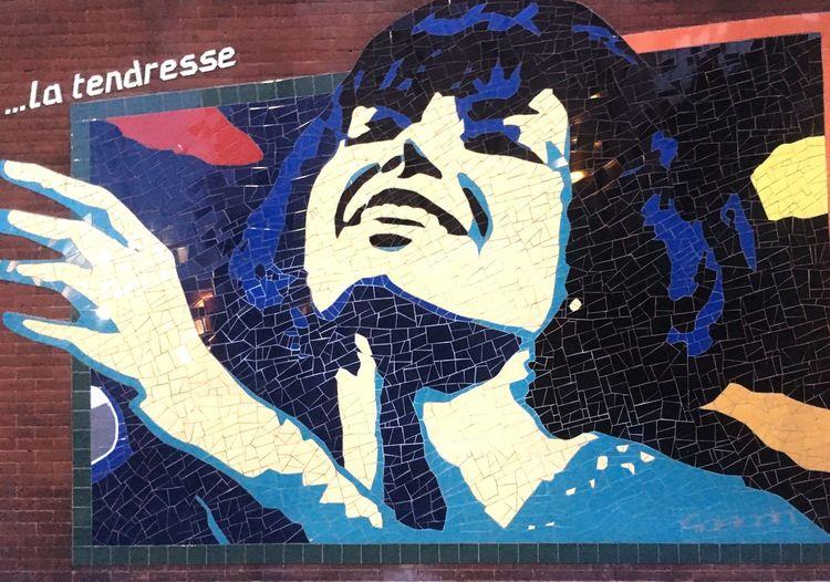Pauline Julien, mosaïque. Mosaique Montréal Centre-Sud Pauline Julien Chanteuse Singer  Quebec Révolution Tranquille